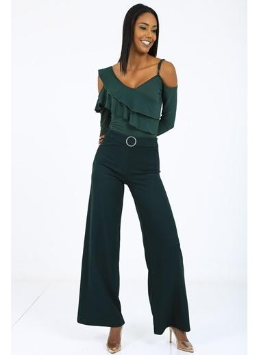 Emjey Özel Tasarım Kemerli Pantolon Yeşil